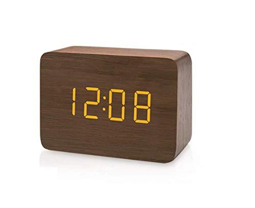 AA-SS Wecker-hölzerner LED Digital-Wecker, Würfel-Wecker, Zeit-Temperatur-Datums-Anzeige, Stimme und Note aktiviert