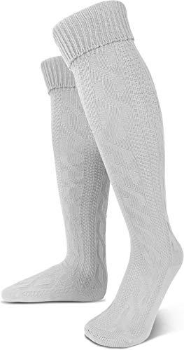 normani Oktoberfest Trachtenkniestrümpfe oder Trachtensocken mit Umschlag Größen wählbar Farbe Weiß extra lang Größe ()