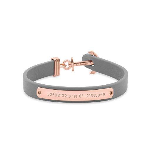PAUL HEWITT Anker Armband Signum Koordinaten - Armband Leder Damen (Grau) mit Anker Schmuck aus IP-Edelstahl (Rosegold)