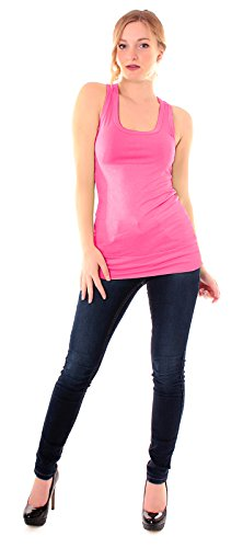 Easy Young Fashion Damen Basic Tanktop uni One Size Pink