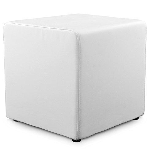 ALTEREGO–Puf 'Cubo' de salón de piel sintética color blanco