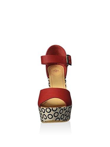 Fornarina PEFBX9515WHA7600 Sandalo zeppa Donna Rosso