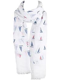 White & Blue Sailing Boat Print Scarf Ladies Fashion Scarves