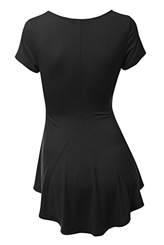 SMITHROAD Damen T-Shirt Sommer Kurzarm V-Ausschnitt mit Falten Stretch Asymmetrisch Vokuhila Unifarben 10 Farben Schwarz