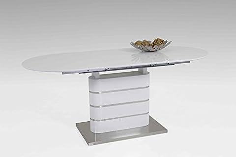Esstisch Amelie Hochglanz weiß Ausziehbar Tisch, Wohnzimmertisch 140-180x80x77 cm