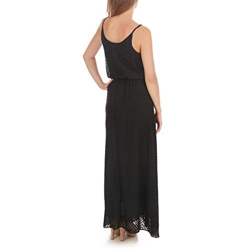 La Modeuse - Maxi robe unie munie de fines bretelles non ajustables Noir