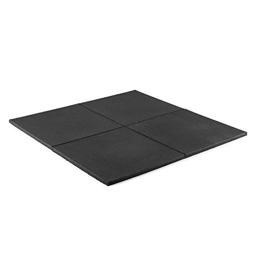 Capital Sports RUB20 - Bodenschutzmatte, Abwurfmatte, Unterlegmatte, 50x50cm, Ø2cm, Schutz beim Ablegen und Abwerfen von Hanteln und Gewichtsscheiben, 4 vulkanisierte Vollgummi-Matten, schwarz