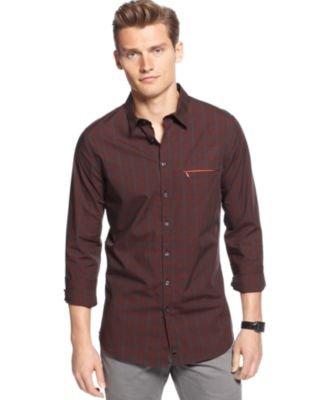 Calvin Klein Shirt, Long Sleeve Plaid Slim Poppy Red Large