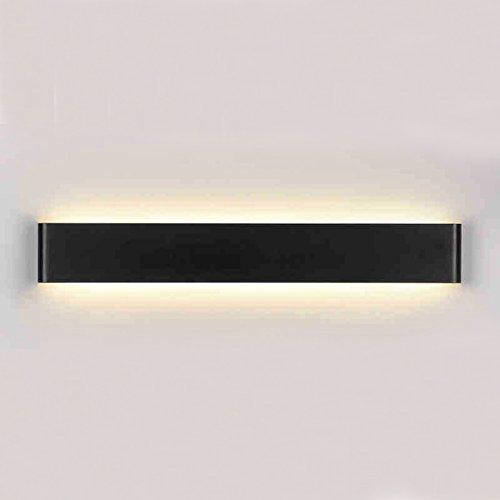 K-Bright Spiegellampe Wandlampe LED Spiegelleuchte,20W modern Aufbauleuchte,Wasserdicht IP 44 AC,85V-265V Aluminium und Acryl Badlampe Flurlampe Up und Down Badleuchte Abstrahlwinkel 120°,Warmweiß,Schwarz