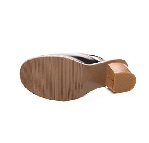 WZG De nouvelles sandales en cuir épais sandales à talons hauts strass chaussures boucle métallique grandes verges Black