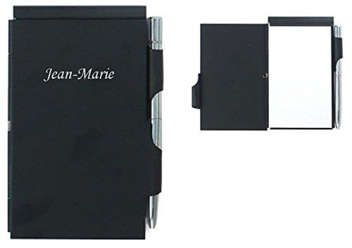 Notebook avec un stylo bleu. Prénom engravé: Jean-Marie (Noms/Prénoms)
