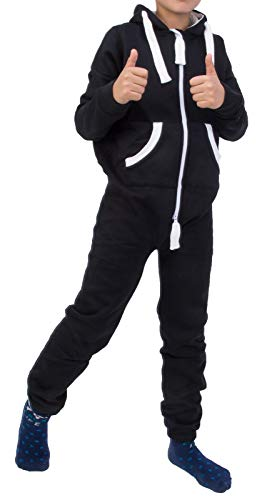 Rock Creek Kinder Jumpsuits Overall Jogger Onesie Jumpsuit Anzug Sportanzug Pyjama Fleecejumpsuit Jungen Mädchen H-138 Schwarz 134-140