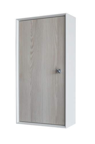 FACKELMANN Hängeschrank IX! / Badschrank mit Soft-Close-System/Maße (B x H x T): ca. 35 x 70 x 15 cm/hochwertiger Schrank/Türanschlag frei wählbar/Korpus: Weiß/Front: Braun/Breite 35 cm