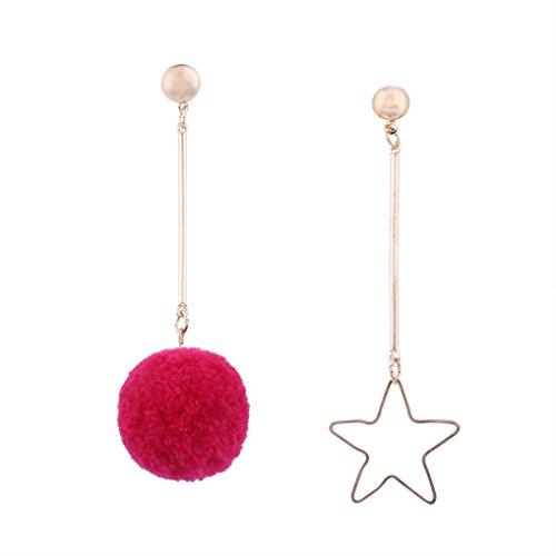Bluestercool modalità donne asimmetria orecchini catena gioielli, rosa acceso, taglia unica
