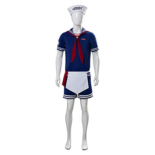Mann Ice Cream Kostüm - HeChao Stranger Things 3 Cosplay Kostüm Steve Harrington Robin Scoops Ahoi Nautical Sailor Uniform Anzug Halloween Karneval Kostüme Erwachsene & Kinder
