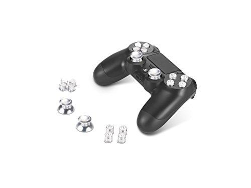 Supremery Playstation 4 Dualshock 4 Aluminium Buttons Kappen Thumbsticks Ersatzteile Zubehör für PS4 (Bullet Silber)