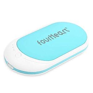 Four Heart Wiederaufladbare Handwärmer/Power Bank, 5200mAh USB-C Double-Side Handwärmer elektrisch Taschenwärmer für iPhone, Samsung Galaxy und mehr