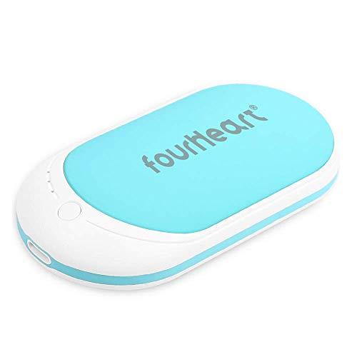 Four Heart Wiederaufladbare Handwärmer/Power Bank, 5200mAh USB-C Double-Side Handwärmer elektrisch Taschenwärmer für iPhone, Samsung Galaxy und mehr (Blau)