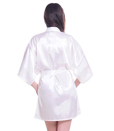 Damen Kimono Morgenmantel Negligee Hausmantel Nachtwäsche Seidenrobe kurz Weiß