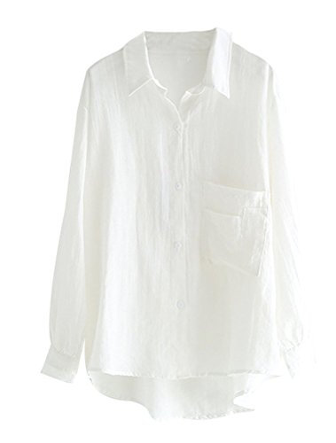 MatchLife Damen Bluse Leinen Elegant Langarm Casual Oberteil Lose Langarmshirt Tunika Hemd mit Taschen Weiß 2XL(Fit EU44-48) -