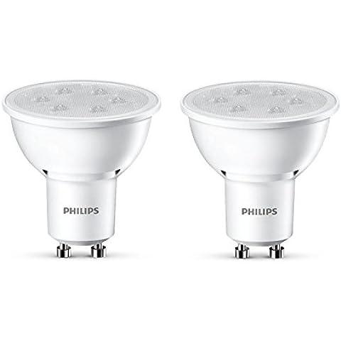 Philips - Pack de 2 focos LED, luz blanca cálida, 3,5 W, equivalente a 35 W, casquillo GU10, no regulable