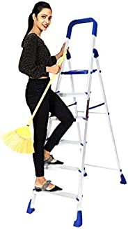 Paffy Foldable Aluminium Step Ladder, Clamber Pro, 6 Steps (Blue & Satin)