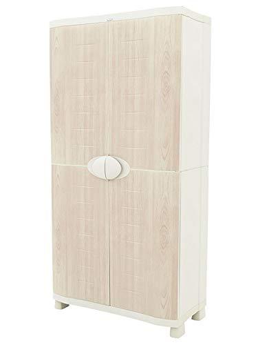 Plastiken Armario SPACE SAVER 90cm con 4 estantes metálicos con puertas imitación madera de HAYA 90cm...