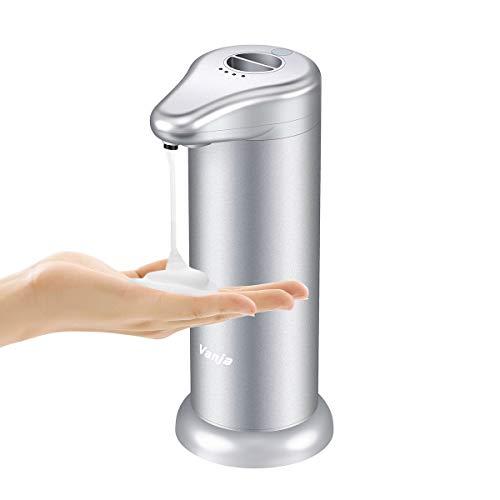 Vanja Schäumende Seifenspender, Einstellbare Dosierung Touchless Infrarot-Bewegungs-Sensor-Flüssig Auto Handseifenspender für Küche Badezimmer WC - Silber