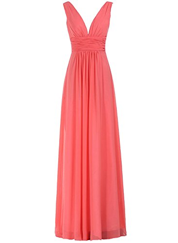 Azbro Women's V-Neck Ruched Waist Long Prom Evening Gown Bridesmaid Dress Watermelon Red
