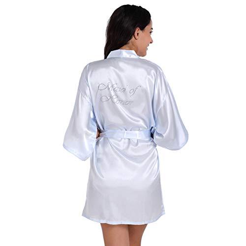 FOTEE Damen Morgenmantel Kimono, Weich Bademantel Nachtwäsche V Ausschnitt Nachthemd Satin Kimono Kurz Robe Robe Pyjama,Light Blue_M