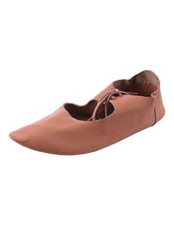 Flache mittelalterliche Schuhe aus Leder, Ristschnürung, wendegenäht - LARP - Mittelalter - Wikinger Schuhgröße 40 (Mittelalterliche Schuhe)