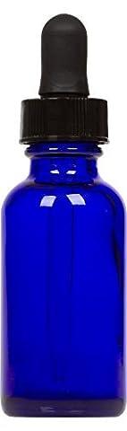 CosChemSupply Cobalt Blue Glass Boston Round Bottle W/ Black Glass