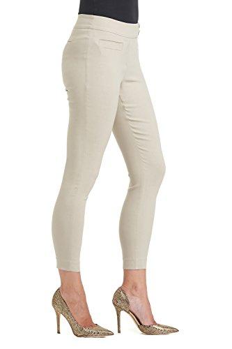 Rekucci Damen Seien Sie in Komfort bekleidet schlanke Knöchelhose mit Druckknöpfen Stein