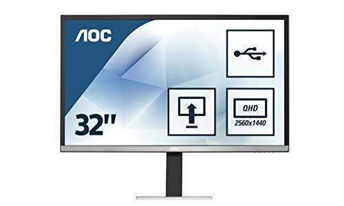 AOC Q3277PQU 81,3 cm (32 Zoll) MVA-Monitor (VGA, DVI, HDMI, USB, DisplayPort, 2560 x 1440, 60 Hz, 5 ms, Pivot) schwarz