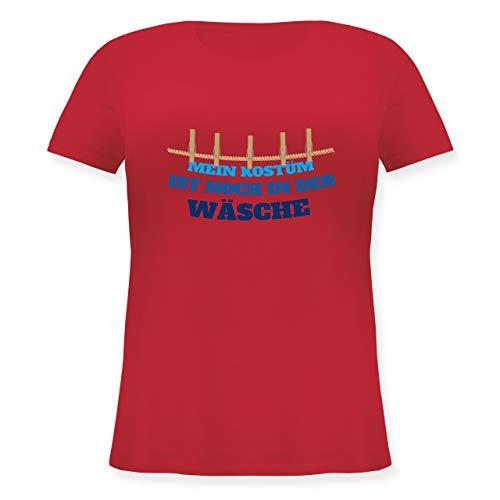 Karneval & Fasching - Mein Kostüm ist noch in der Wäsche Wäscheleine blau - L (48) - Rot - JHK601 - Lockeres Damen-Shirt in großen Größen mit Rundhalsausschnitt