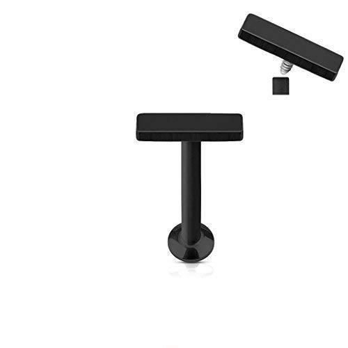 Tapsi´s Coolbodyart®| Piercing Labret, Monroe, Cartilage Stecker Edelstahl Chirurgenstahl 316L 6mm Barren Schwarz