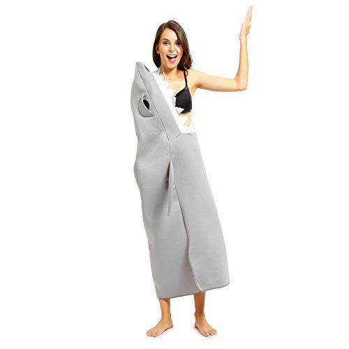 ressender Hai Herrenkostuem Weisses Hai Herren Kostuem Bodysuit Playsuit Halloween Mottoparty (Weiße Halloween-kostüm Bodysuit)
