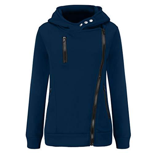 GOKOMO Jacke Damen Sweatjacke Hoodie Sweatshirtjacke Pullover Oberteile Kapuzenpullover Reißverschluss Herbst und Winter Warm(Navy Blue,Medium)