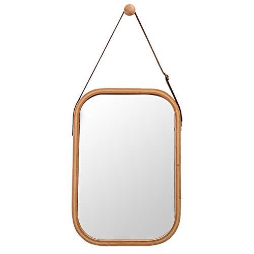 ZRI Bamboo Wandspiegel Rechteckig Flur Spiegel Badspiegel mit Verstellbarer Ledergürtel (Braun, 40.5 x 33cm)