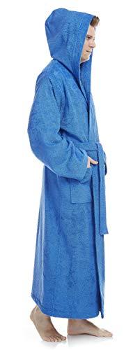 Arus Bademantel-Pacific für Damen und Herren mit Kapuze, extra lang, 100{625cd38eadaf9bfd31851c210979df4af5a387d9fd2fcb63793e4281c67b5e0b} Baumwolle Frottee, Hausmantel, Morgenmantel, Saunamantel, Größe: XXL, Farbe: Royalblau