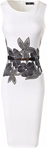 jeansian Donna Retro Fascino Elegante Sottile Noble Fiori Abito Gonna Pencil Dress WKD286 White L