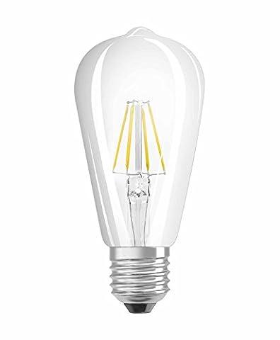 OSRAM LED Retrofit CLASSIC ST / LED lamp, retro design, in filament style, Edison bulb shape: E27, 4 W, 220…240 V, 40 W replacement, clear, Warm White, 2700 K,