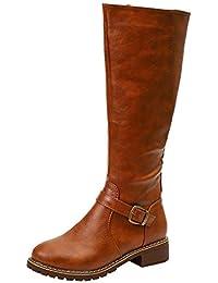 Botas de Cuero con Cremallera de tacón Cuadrado para Mujeres Vintage Mantenga Las Botas Calientes Zapatos