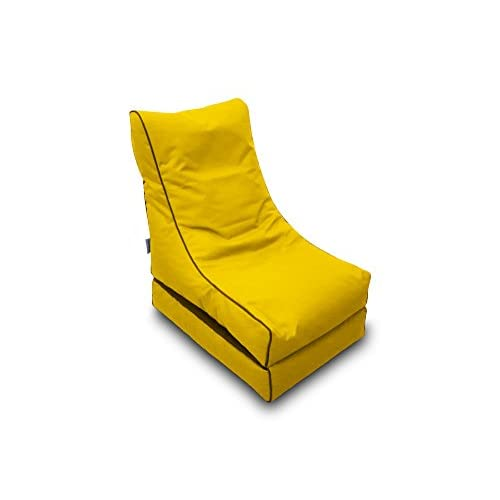 Pufmania Bean Bag Beanbag Lounger Polyester Waterproof 50 x 75 cm Folded/150 x 70 cm Deployed (Yellow)