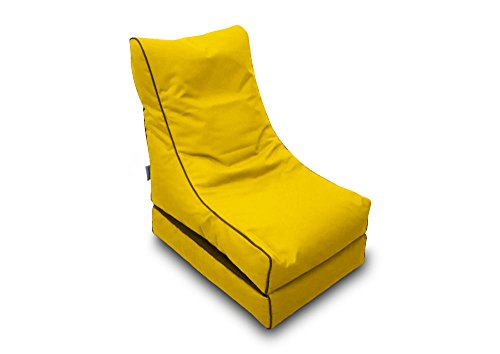 Pufmania Bean Bag Beanbag Lounger Polyester Waterproof 50x 75cm Folded/150x 70cm Deployed (Yellow)