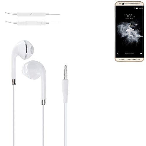K-S-Trade® Auriculares Headphone P. ZTE Axon 7 Mini con Micrófono Y Control De Volumen Blanco Jack De 3.5 Mm Tapones para Los Oídos Headset Espárragos Headphone Estéreo