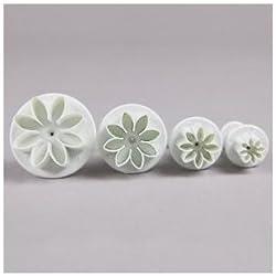 Set de 4 Moldes / Sellos de Flor Margarita - Para Repostería - Por FlissyTM