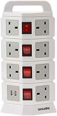 توصيلة كهربائية عامودية أربعة طوابق، 11 مقابس مع 2 مدخل يو اس بي لشحن الجالكسي والأيفون، اللون أبيض