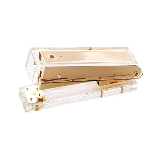 HYBUKDP Manuelle Hefter/Tischhefter Multifunktions-Luxus-Rose Gold Gold Manueller Hefter Fashion Metal Acryl-Hefter 24/6 26/6 Beinhaltet 1000 Stück Heftklammern (Color : Gold)