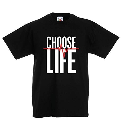 lepni.me Kinder Jungen/Mädchen T-Shirt Wählen Sie das Leben Herzschlag, Anti-Abtreibung politischen Protest, Christian Zitat (9-11 Years Schwarz Mehrfarben)